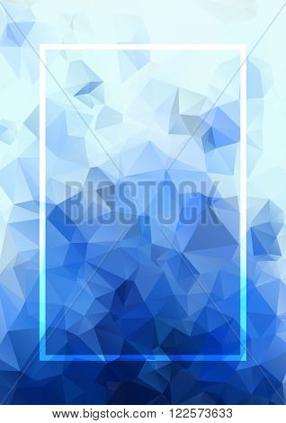 Abstract blue background. Geometric abstract vector background, pastel color. Modern stylish abstract design poster, cover, card design. Polygonal vintage texture, dots pattern and geometric elements