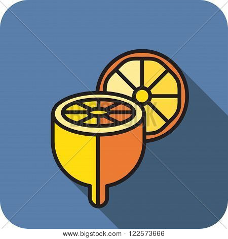 icon chopped lemon with slice flat style
