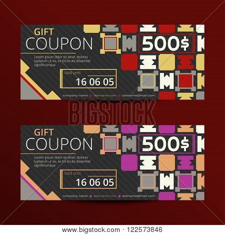 Vector illustration of gift voucher template collection. Voucher tickets. Voucher sale coupon. Gift voucher vector. Set of vector coupon templates. Discount gift coupons.