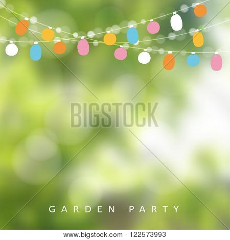 Birthday garden party or Brazilian june party vector illustration with garland of lights and blurred background