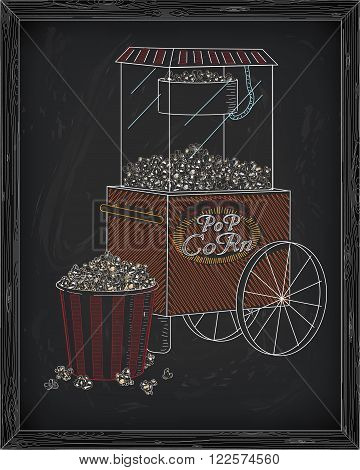 Popcorn Machine On On Wheels And Big Striped Carton Box Full Of Fresh & Delicious Popcorn