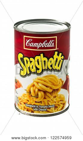 Winneconne WI - 5 February 2015: Can of Campbell's Spaghetti in tomato sauce with cheese.