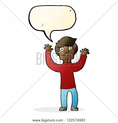 cartoon terrified man with speech bubble
