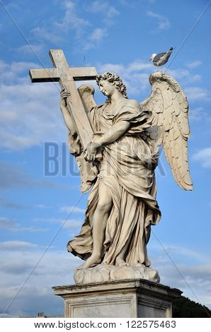 Statue Of Angel With Cross