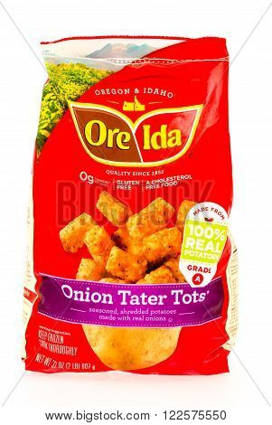 Winneconne WI - 29 August 2015: Bag of Ore Ida onion tater tots made from 100% potatoes.