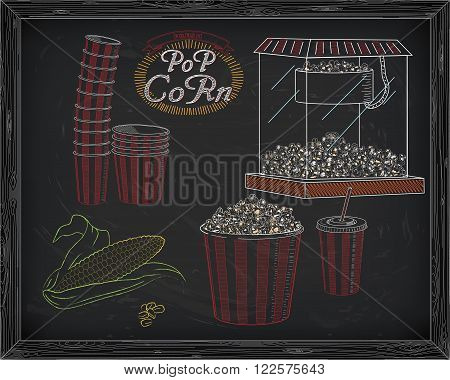 Popcorn Machine, Ear Of Corn, Stack Of Small & Big Popcorn Boxes, Big Carton Striped Box Full Of Pop