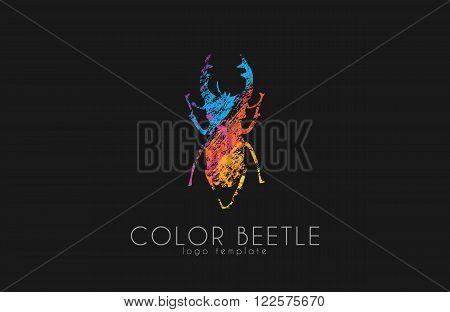 Beetle logo. Color beetle logo design. Creative logo.