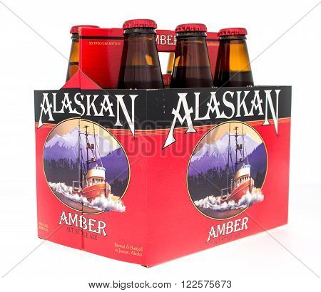 Winneconne WI -18 Oct 2015: Six pack of Alaskan Amber alt style ale.