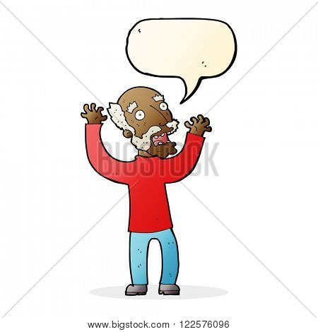 cartoon terrified old man with speech bubble