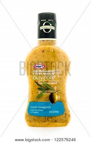 Winneconne, WI - 4 February 2015: Bottle of Kraft Extra Virgin Olive Oil salad dressing. Kraft was founded in 1903