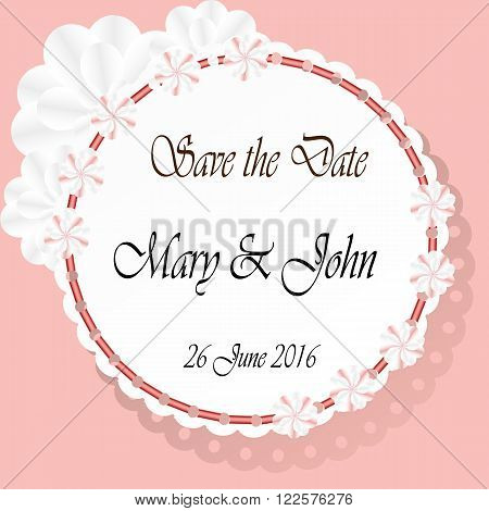 Save the date cards with paper flowers and with beautiful paper napkin. Marriage invitation card. Wedding invitation card. Vector illustration.