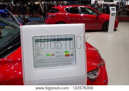GENEVA SWITZERLAND - MARCH 2 2016: Tablet with energy information about the new Lexus IS 200t Sport at the 85th International Geneva Motor Show in Palexpo Geneva.