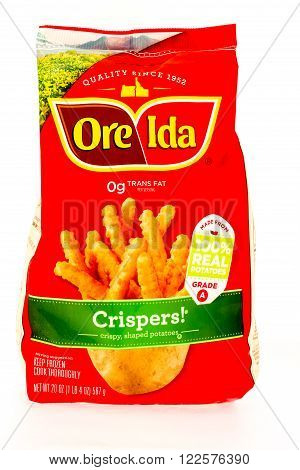 Winneconne WI - 29 August 2015: Bag of Ore Ida crispers made from 100% potatoes.