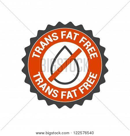 No transfat trans fat vector seal label