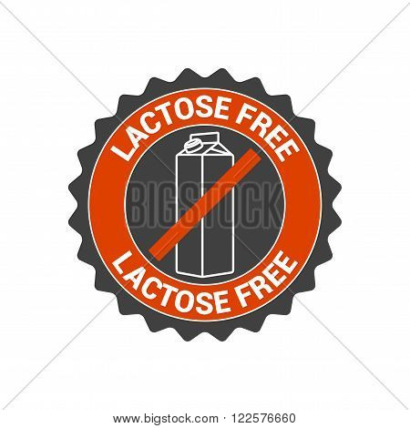 Lactose free vector food label seal icon logo. Healthier eating symbol