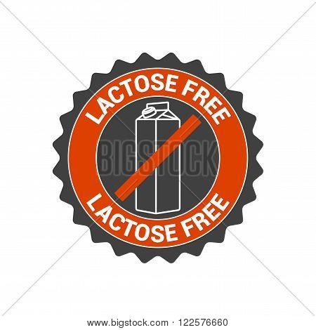 Lactose free vector food label seal icon logo. Healthier eating symbol