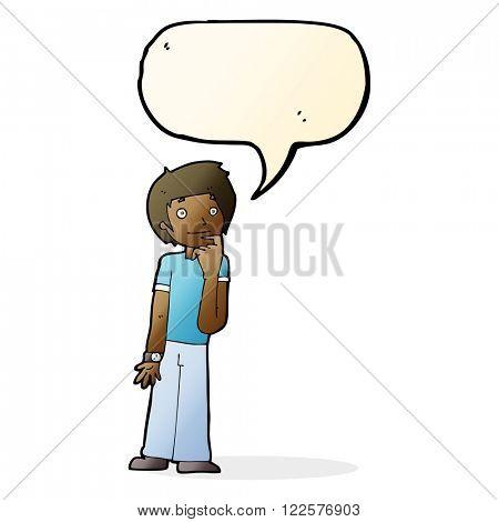 cartoon boy wondering with speech bubble