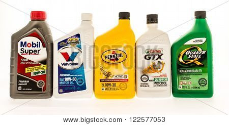 winneconne WI - 19 August 2015: Five bottles of different brands of motor oil.