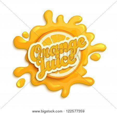 Orange juece label splash. Blot and lettering with ribbon on white background. Splash and blot design, shape creative vector illustration.