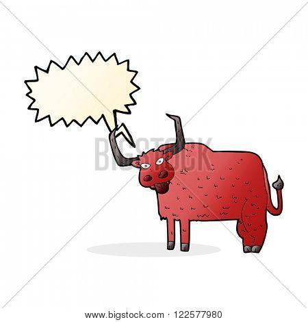 cartoon hairy cow with speech bubble