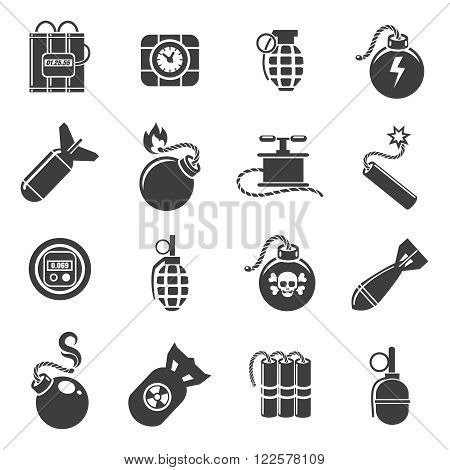Bomb icons. Bombs and grenades, mines and explosives icons. Vector illustration