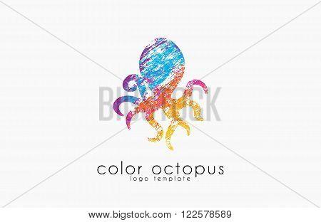 Octopus logo. Sea logo. Ocean logo design. Water logo. Creative logo.