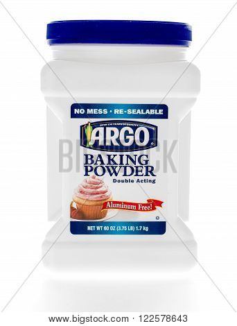 Winneconne WI - 8 February 2015: Container of Argo Baking Powder which was created in 1892.