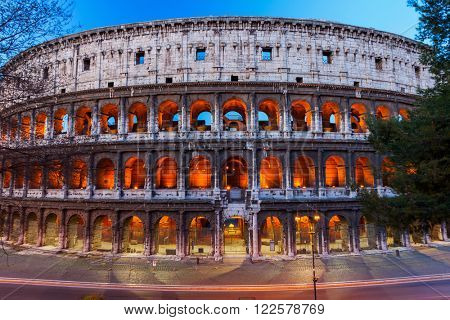 Colosseum at dusk in Rome, Italy