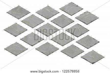 A set of isometric stone plates. Realistic stone fantasy ground tiles.