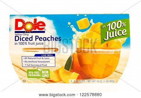 Winneconne WI -24 Sept 2015: Package of Dole diced peaches in individual cups.