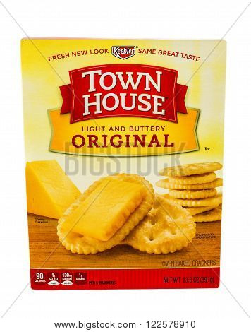 Winneconne WI - 5 February 2015: Town House Light and Buttery Oringinal crackers made by Keebler.