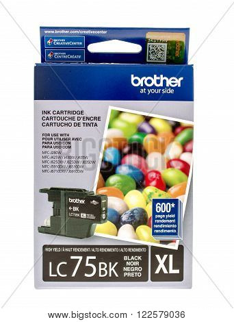 Winneconne WI -15 Oct 2015: Box of black ink cartridge made by Brother.