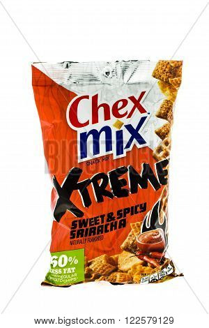 Winneconne WI - 4 February 2015: Bag of Chex Mix Xtreme Sweet & Spicy snack mix. Created in 1985 as pre-packaged and is now owned by General Mills.