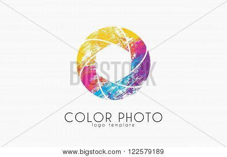 Shutter logo design. Photo logo. Creative logo. Color shutter.