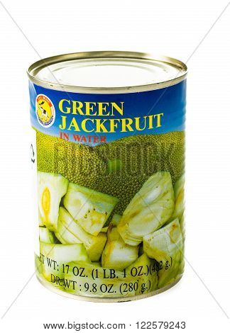 Winneconne WI - 5 February 2015: Can of Green Jackfruit in water imported by the TAS Brand..
