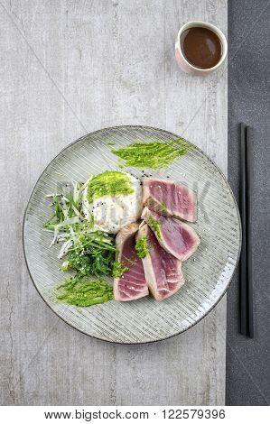 Tuna Tataki with Vegetable and Wasabi Cream