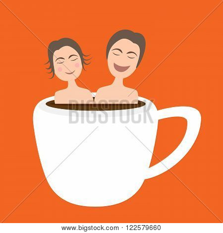 Happy Couple  Taking Bath In Onsen Hot Coffee Cup, Vector, Illustration