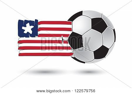 Soccer Ball And Liberia Flag With Colored Hand Drawn Lines
