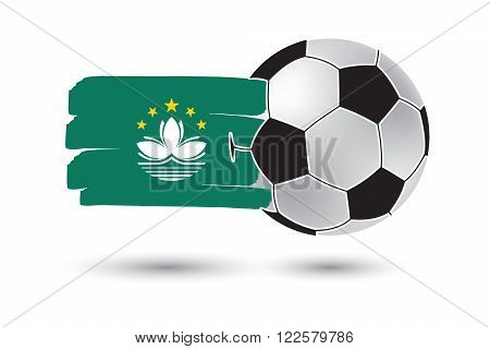 Soccer Ball And Macau Flag With Colored Hand Drawn Lines