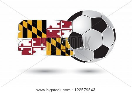 Soccer Ball And Maryland State Flag With Colored Hand Drawn Lines