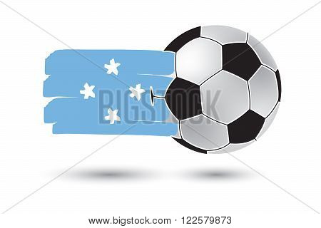 Soccer Ball And Micronesia Flag With Colored Hand Drawn Lines