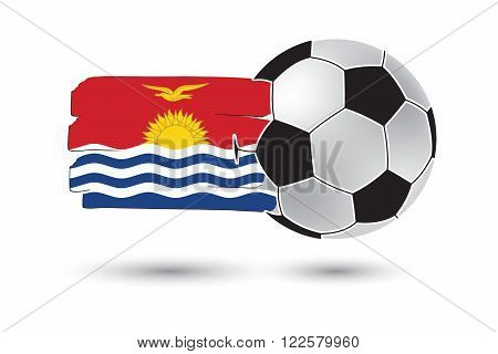 Soccer Ball And Kiribati Flag With Colored Hand Drawn Lines