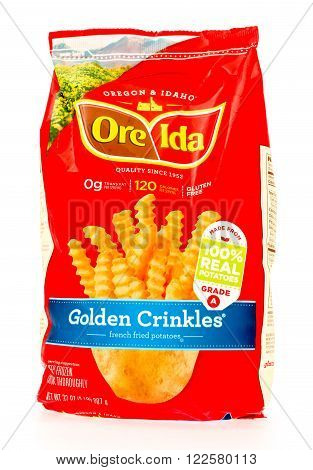Winneconne WI - 29 August 2015: Bag of Ore Ida golden crinkles made from 100% potatoes.