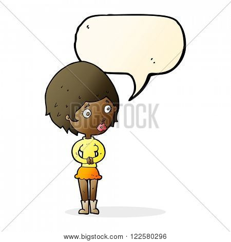 cartoon concerned woman with speech bubble