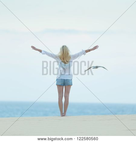Woman enjoying freedom feeling as a bird at beach at dusk. Serene relaxing woman in pure happiness and elated enjoyment with arms raised outstretched up.
