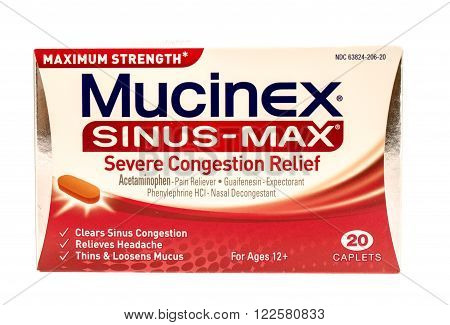 Winneconne WI -1 Oct 2015: Box of Mucinex sinus-max congestion relief.