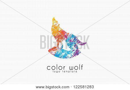 Wolf logo. Color wolf logo design. Animal logo.