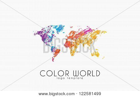 World map logo. World logo. Color world. Creative logo. Travel logo design.