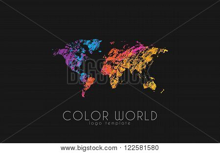 World map logo. World logo. Color world. Creative logo. Travel logo design.
