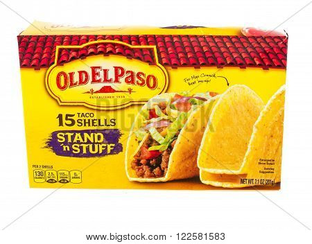 Winneconne WI - 5 February 2015: Stand'n Stuff Old El Paso taco shells have been in bussines since 1938.